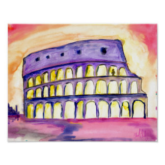 Original abstract Rome design bright color poster