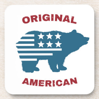 Original American | United States Typography Bear Beverage Coasters