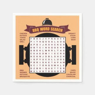 Original and fun BBQ party word search puzzle... Paper Serviettes