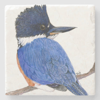 "Original art ""Kingfisher"" tile Stone Coaster"