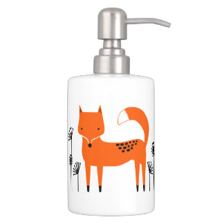 """Original art work"" Fred the Fox Soap Dispenser And Toothbrush Holder"