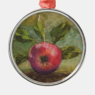 Original artwork painting red apple christmas ornament