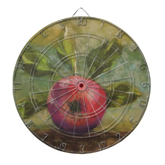 Original artwork painting red apple dartboard