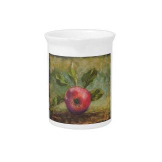 Original artwork painting red apple pitcher