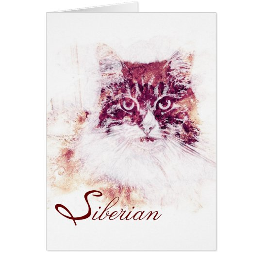 Original Artwork Siberian Cat Note Card