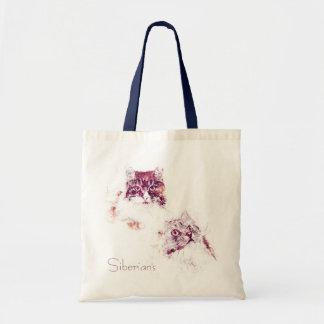 Original Artwork Siberian Cats Tote Bag
