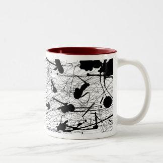 Original Black Splatter Painting Two-Tone Coffee Mug