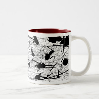 Original Black Splatter Painting Two-Tone Mug