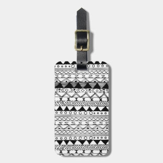 Original black white hand drawn aztec pattern luggage tag