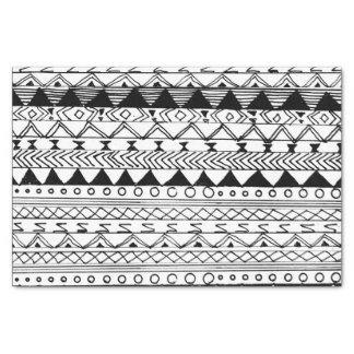 Original black white hand drawn aztec pattern tissue paper
