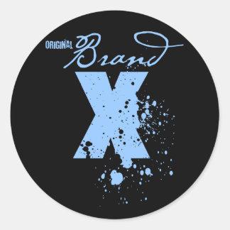 Original Brand X Logo (blue) Round Sticker