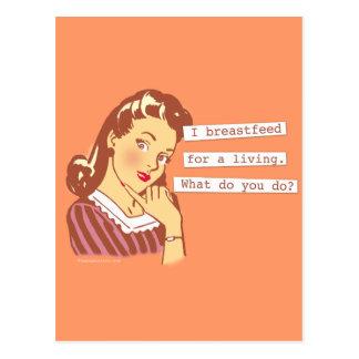 Original Breastfeed For a Living Retro Mom Humor Postcard