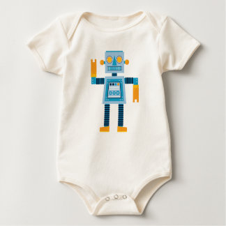 Original Cartoon blue Robot Baby Bodysuit
