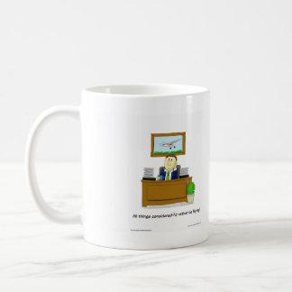 Original cartoon, showing daydreaming flyer coffee mug