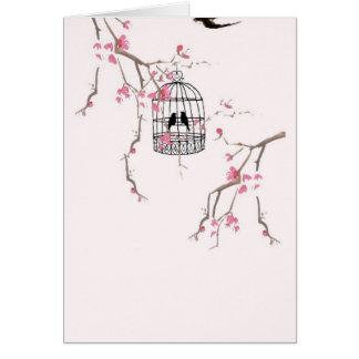 Original cherry blossom birdcage artwork card