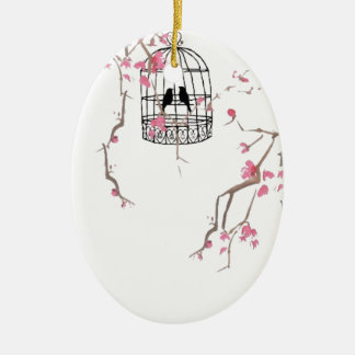 Original cherry blossom birdcage artwork christmas ornament