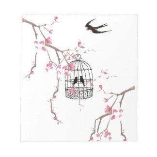Original cherry blossom birdcage artwork notepad