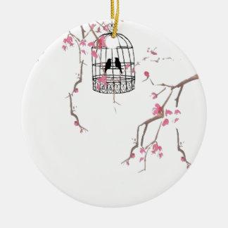 Original cherry blossom birdcage artwork round ceramic decoration
