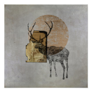 Original Collage (Deer) Poster