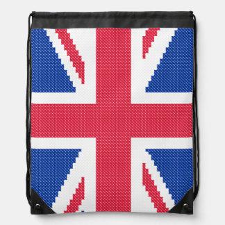 Original cross-stitch design Union Jack Drawstring Bag