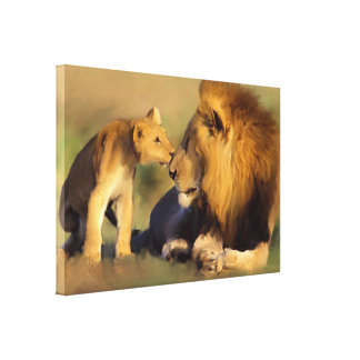 Original Cub Kisses Father Canvas Print