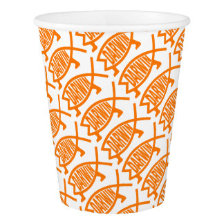 Original Darwin Fish (Light Orange) Paper Cup