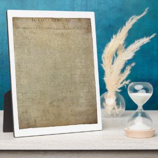 Original Declaration of Independence Plaque