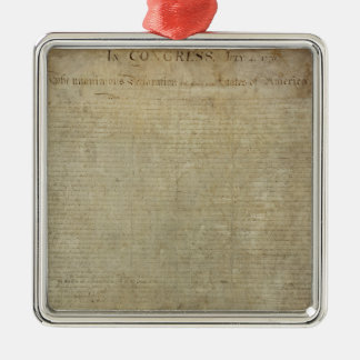 Original Declaration of Independence Silver-Colored Square Decoration
