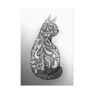 Original design Black and white decorated cat Canvas Print