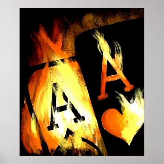ORIGINAL DESIGN FLAMING POCKET ACES POKER ART POSTER