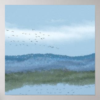 original digital art lake and mountains 2 of 2 poster