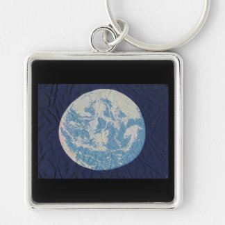 Original Earth Day Flag Silver-Colored Square Key Ring