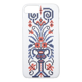 Original Elegant cross-stitch floral flower design iPhone 8/7 Case