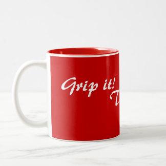 original fun drinking slogan text Two-Tone mug