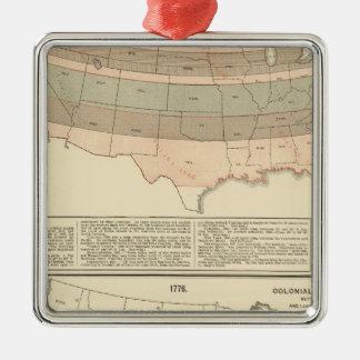 Original grants of 1776 settled area Silver-Colored square decoration