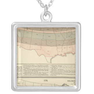 Original grants of 1776 settled area silver plated necklace