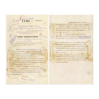 ORIGINAL Gulf of Tonkin Resolution Document Canvas Prints