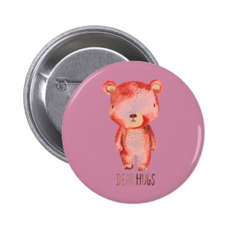 Original hand drawn cute bear design 6 cm round badge