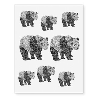 Original Hand Illustrated Artsy Floral Panda Bear