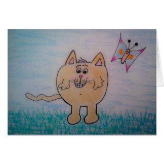 """Original """"Happy cat with butterfly"""" drawing! Card"""