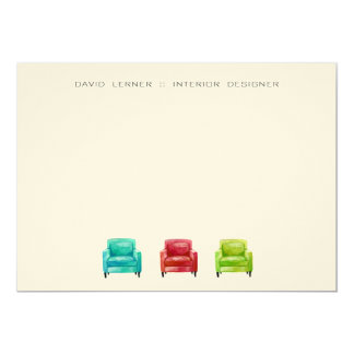Original Illustration Armchair Business Cards 13 Cm X 18 Cm Invitation Card