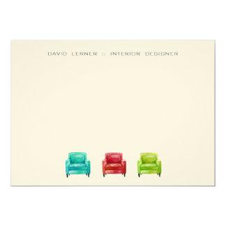 Original Illustration Armchair Business Cards 13 Cm X 18 Cm Invitation Card
