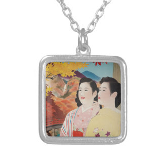 Original Japan in autumn Nikko vintage poster 50s Silver Plated Necklace