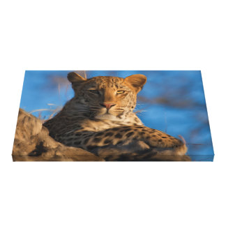 Original Leopard On Rock Canvas Print