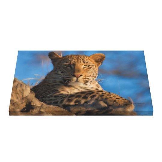 Original Leopard On Rock Canvas Print