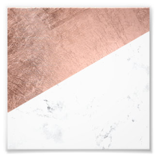 Original modern rose gold white marble color block photo print