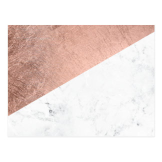 Original modern rose gold white marble color block postcard
