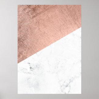 Original modern rose gold white marble color block poster