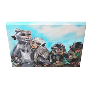"Original Oil Painting "" The monkey family"" Canvas Prints"