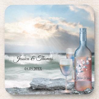 Original Painted Beach and Wine Wedding Coasters